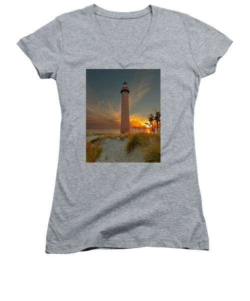 Sunset At Petite Pointe Au Sable Women's V-Neck