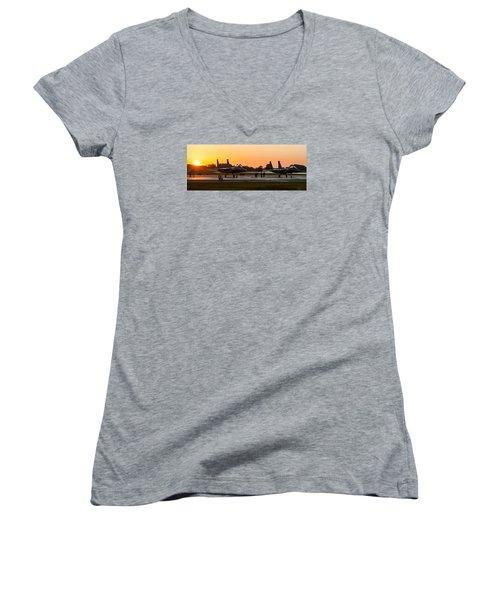 Sunset At Raf Lakenheath Women's V-Neck T-Shirt