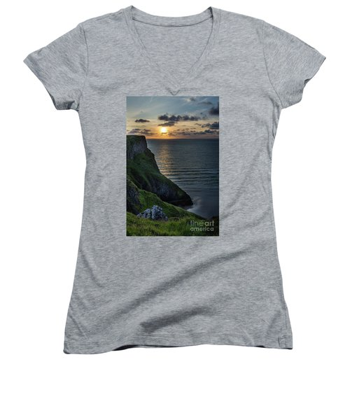 Sunset At Rhossili Bay Women's V-Neck (Athletic Fit)