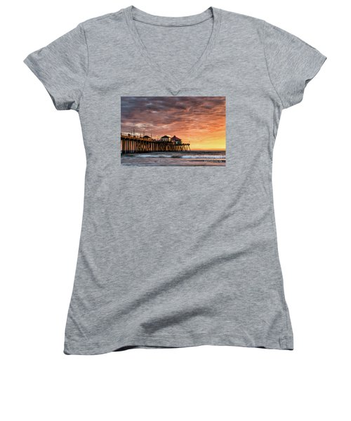 Sunset At Ruby's Women's V-Neck (Athletic Fit)