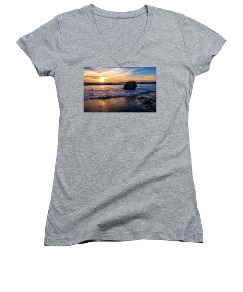 Sunset At San Simeon Beach Women's V-Neck