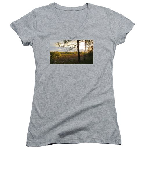 Sunset At Scuppernong II Women's V-Neck T-Shirt (Junior Cut) by Kimberly Mackowski