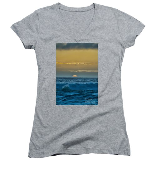 Sunset At Sea Women's V-Neck T-Shirt (Junior Cut) by Billie-Jo Miller