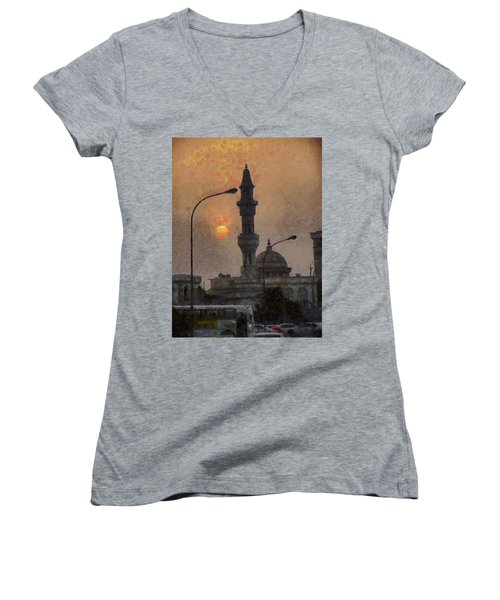 Sunset At Seeb Women's V-Neck T-Shirt