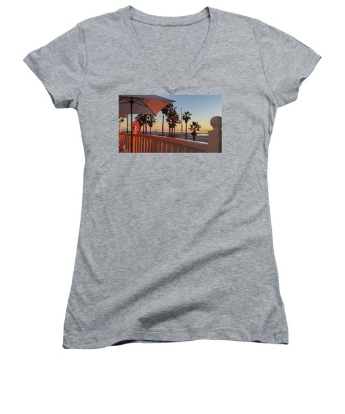 Sunset At Shutters Women's V-Neck T-Shirt (Junior Cut) by Mark Barclay