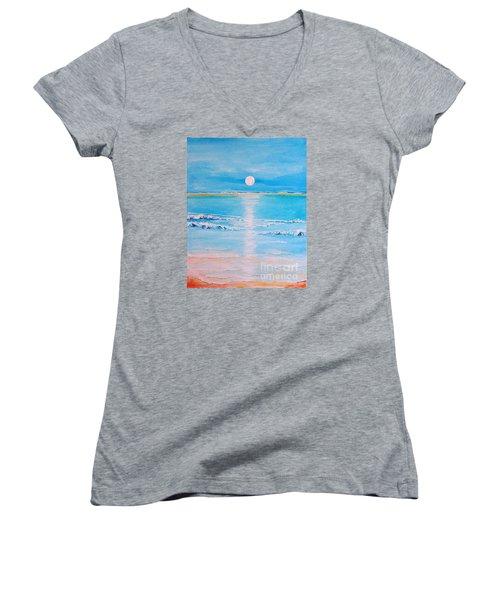 Sunset At The Beach Women's V-Neck T-Shirt (Junior Cut) by Teresa Wegrzyn