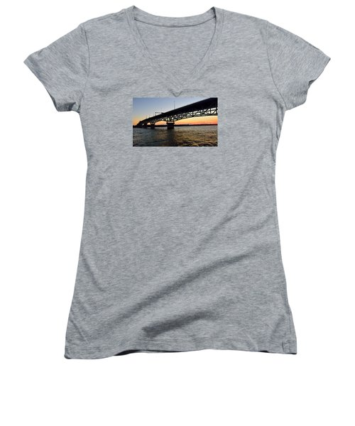 Sunset At The Coleman Bridge Women's V-Neck T-Shirt