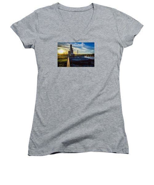 Sunset At The Flood Wall Women's V-Neck (Athletic Fit)