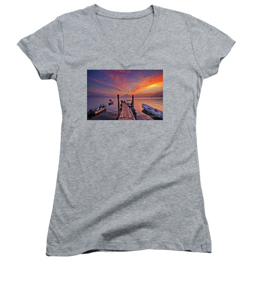 Sunset At The Panajachel Pier On Lake Atitlan, Guatemala Women's V-Neck