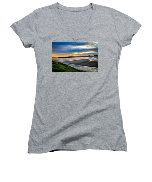 Women's V-Neck T-Shirt featuring the photograph Sunset At The Rivermouth by Lora Lee Chapman