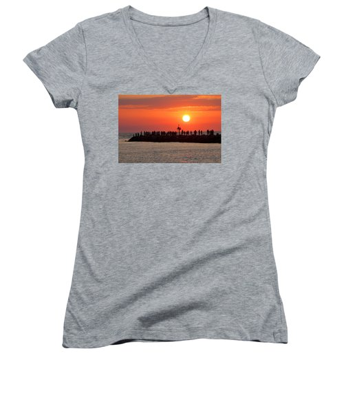 Sunset At The South Jetty, Venice, Florida, Usa Women's V-Neck (Athletic Fit)