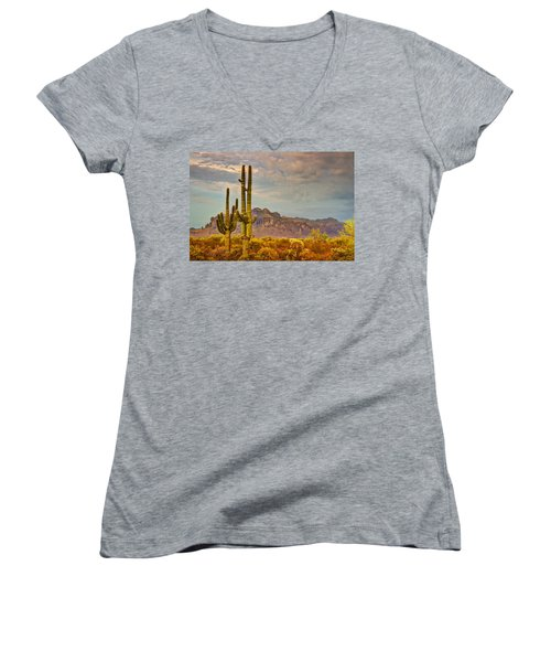 Sunset At The Superstitions  Women's V-Neck (Athletic Fit)