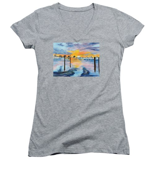 Sunset At The Yacht Club Women's V-Neck T-Shirt (Junior Cut) by Lloyd Dobson