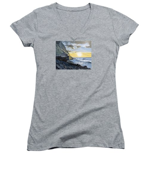 Sunset At Warren Point Duckpool Women's V-Neck (Athletic Fit)
