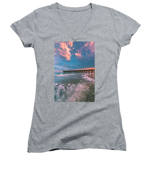 Sunset At Wilmington Crystal Pier In North Carolina Women's V-Neck