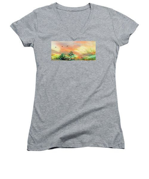 Sunset At Winter Wonderland Women's V-Neck T-Shirt