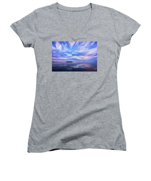 Sunset Awe  Signed Women's V-Neck (Athletic Fit)