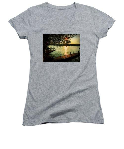 Sunset Bay Women's V-Neck T-Shirt (Junior Cut) by Betty Pauwels