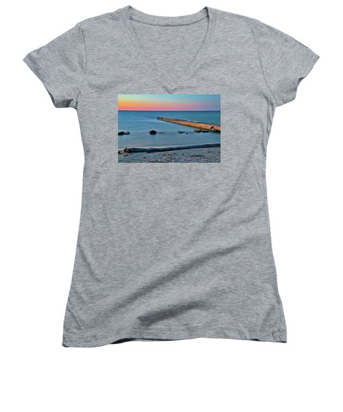 Women's V-Neck T-Shirt (Junior Cut) featuring the photograph Sunset Beach On Lake Erie by Frozen in Time Fine Art Photography