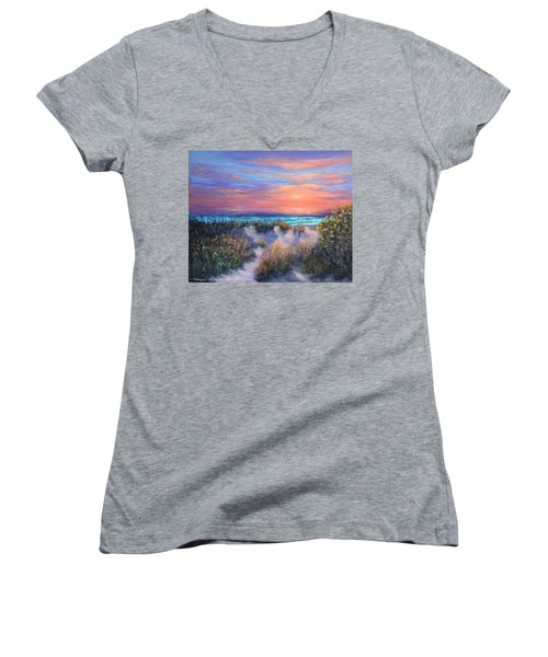 Sunset Beach Painting With Walking Path And Sand Dunesand Blue Waves Women's V-Neck