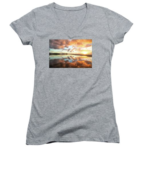 Sunset Beach Reflections Women's V-Neck (Athletic Fit)