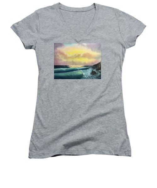 Sunset Beach Women's V-Neck T-Shirt (Junior Cut) by Thomas Janos