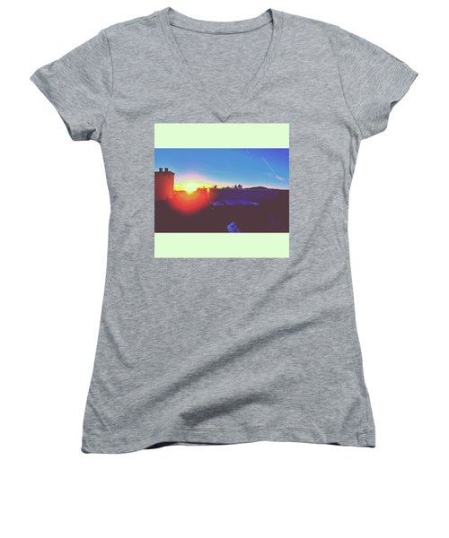 #sunset #bluesky #sun #l4l #lfl Women's V-Neck