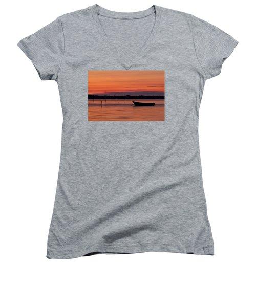 Sunset Boat Women's V-Neck T-Shirt (Junior Cut) by Gert Lavsen