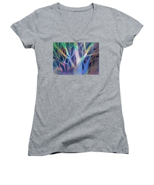 Women's V-Neck featuring the painting Sunset Branches by Carolyn Utigard Thomas