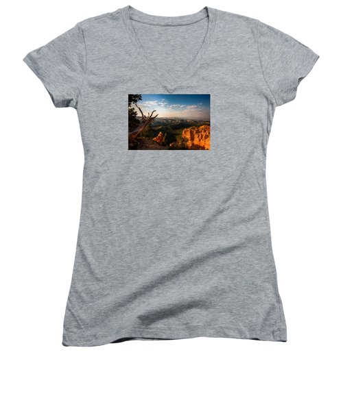 Women's V-Neck T-Shirt (Junior Cut) featuring the photograph Sunset Bryce by Rebecca Hiatt