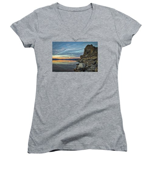 Sunset Cave Rock 2015 Women's V-Neck (Athletic Fit)