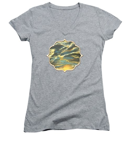 Women's V-Neck featuring the painting Sunset Clouds by Anastasiya Malakhova