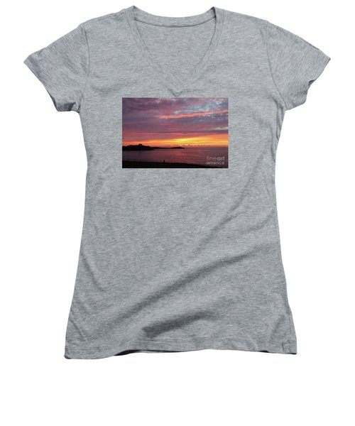 Sunset Clouds In Newquay Cornwall Women's V-Neck T-Shirt (Junior Cut) by Nicholas Burningham