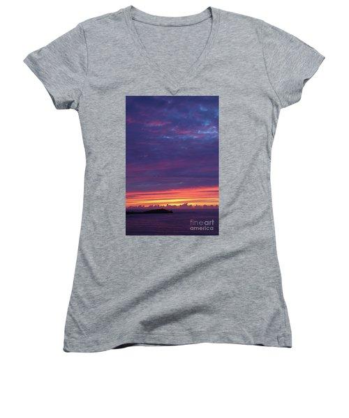 Sunset Clouds In Newquay, Uk Women's V-Neck T-Shirt (Junior Cut) by Nicholas Burningham