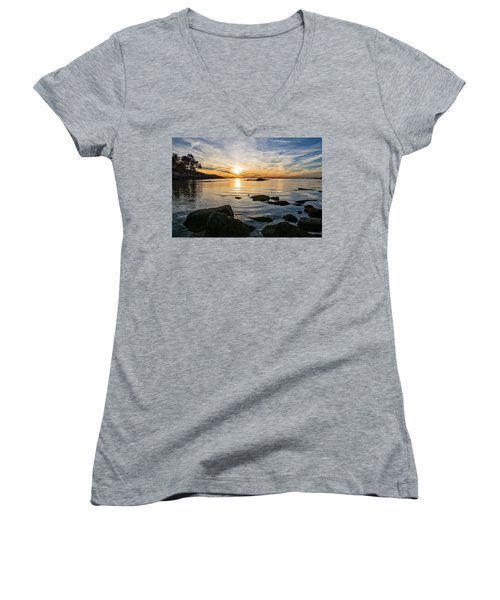 Women's V-Neck featuring the photograph Sunset Cove Gloucester by Michael Hubley