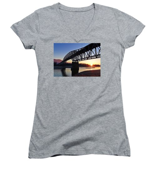 Fraser River, Bc  Women's V-Neck T-Shirt (Junior Cut) by Heather Vopni