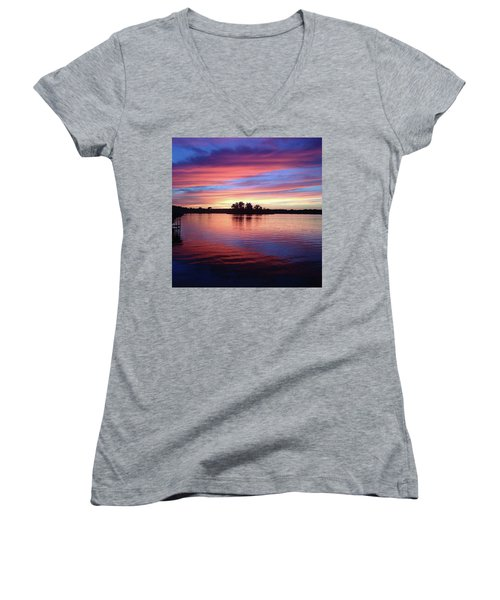 Women's V-Neck T-Shirt (Junior Cut) featuring the photograph Sunset Dreams by Rebecca Wood