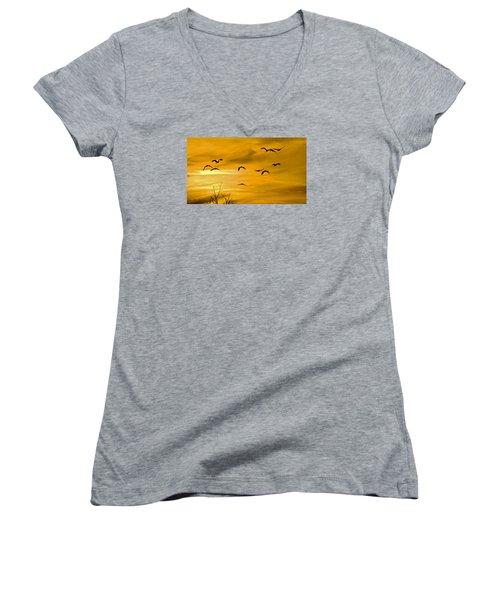 Sunset Fliers Women's V-Neck T-Shirt (Junior Cut) by Wanda Krack