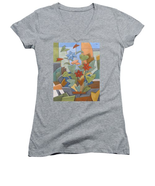 Sunset Flowerbed Women's V-Neck (Athletic Fit)