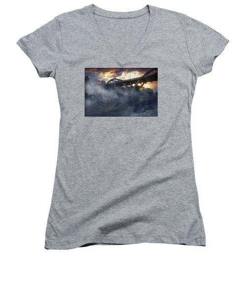 Sunset Fog At Caveman Bridge Women's V-Neck T-Shirt (Junior Cut) by Mick Anderson