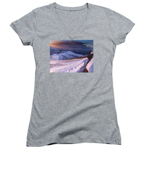 Sunset Following The Mourne Wall Women's V-Neck (Athletic Fit)