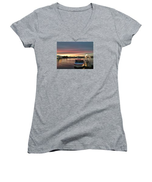 Sunset From The Boardwalk Women's V-Neck (Athletic Fit)