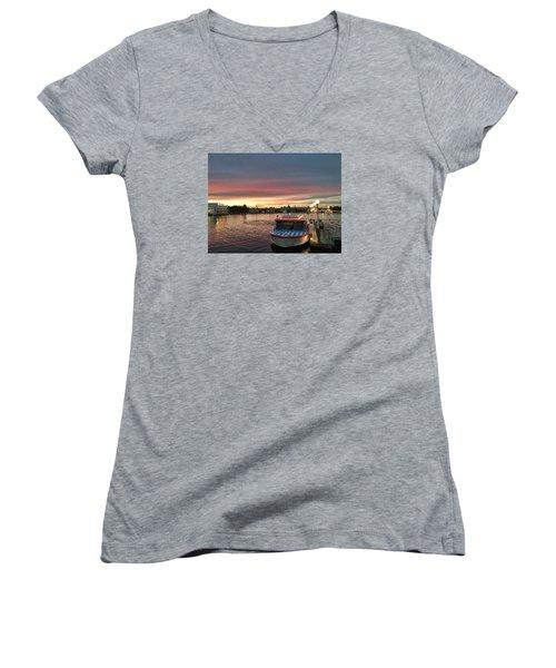 Sunset From The Boardwalk Women's V-Neck T-Shirt