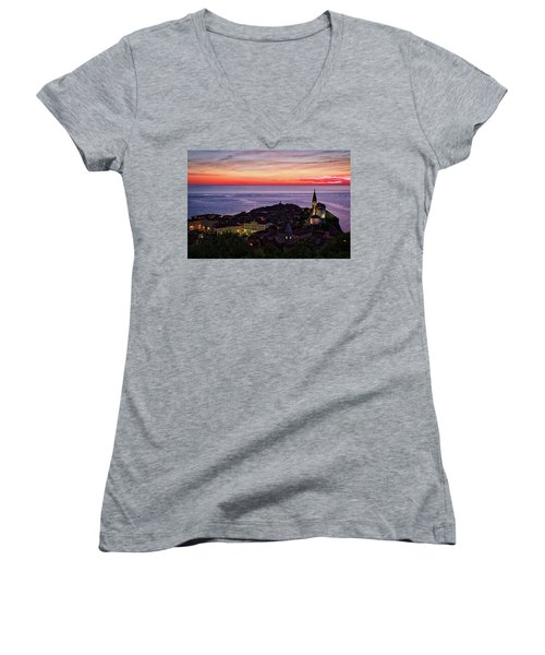 Women's V-Neck T-Shirt featuring the photograph Sunset From The Walls #3 - Piran Slovenia by Stuart Litoff