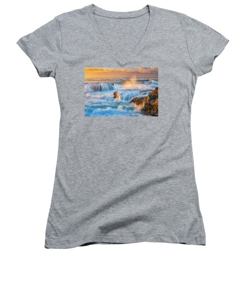 Women's V-Neck T-Shirt (Junior Cut) featuring the photograph Sunset Fury by Darren White