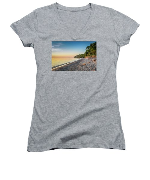 Sunset Glow Over Lake Women's V-Neck