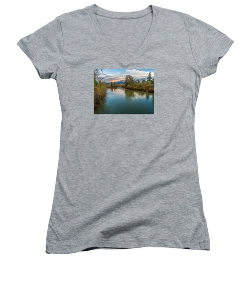 Sunset Glow Over The Snoqualmie River Women's V-Neck