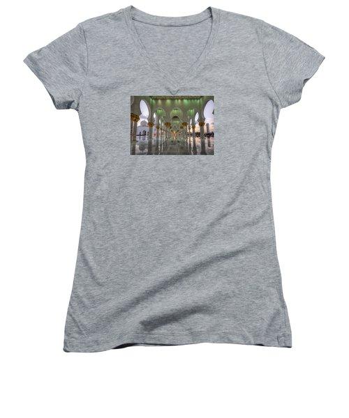 Women's V-Neck T-Shirt (Junior Cut) featuring the photograph Sunset Hindu Temple by John Swartz