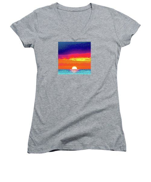 Sunset In Abstract 500 Women's V-Neck