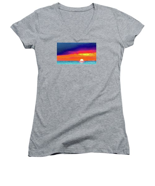 Sunset In Abstract  Women's V-Neck